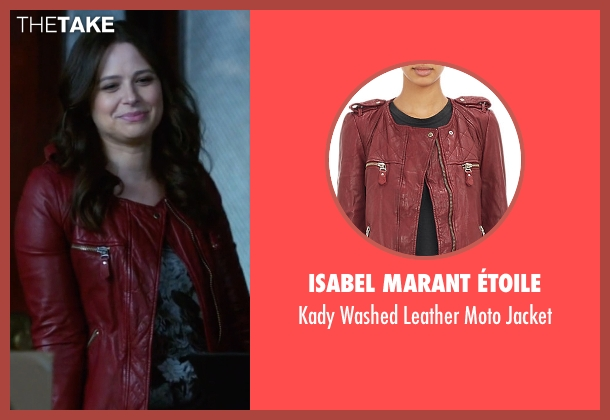 Isabel Marant Étoile red jacket from Scandal seen with Quinn Perkins (Katie Lowes)