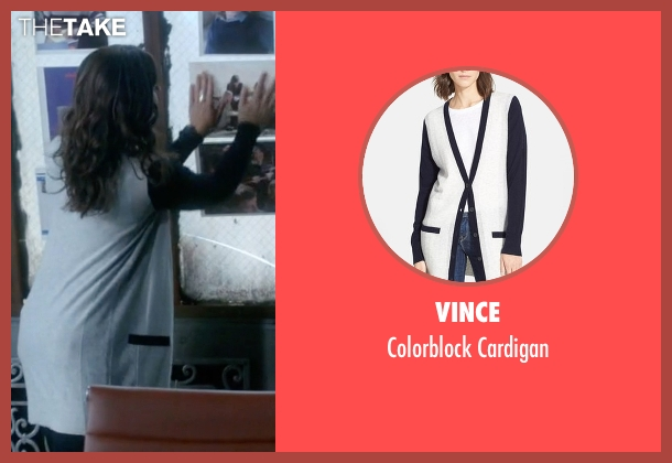 Vince white cardigan from Scandal seen with Quinn Perkins (Katie Lowes)