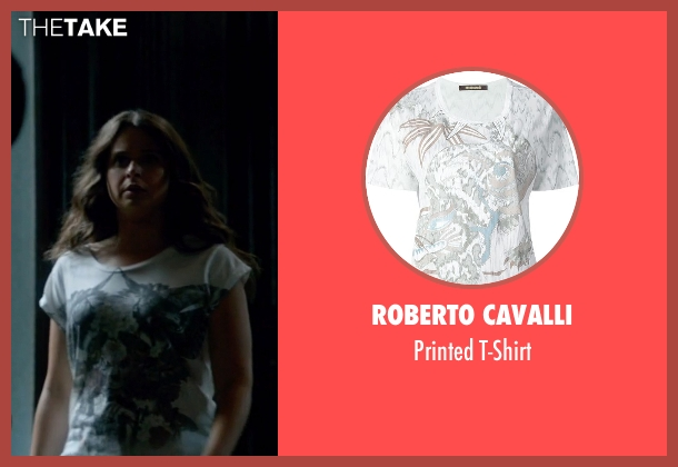 Roberto Cavalli white t-shirt from Scandal seen with Quinn Perkins (Katie Lowes)