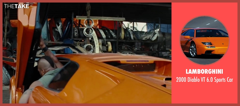 Lamborghini car from The A-Team seen with Quinton 'Rampage' Jackson (B.A. Baracus)