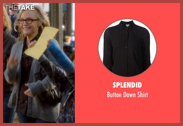 Splendid black shirt from Barely Lethal seen with Rachael Harris (Mrs. Larson)