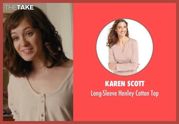 rachel 39 s beige karen scott long sleeve henley cotton top from master of none season 1 episode. Black Bedroom Furniture Sets. Home Design Ideas