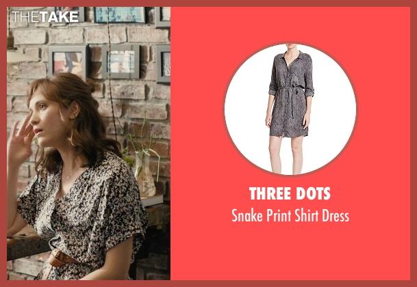 rachel 39 s black three dots snake print shirt dress from master of none season 1 episode 9 thetake. Black Bedroom Furniture Sets. Home Design Ideas