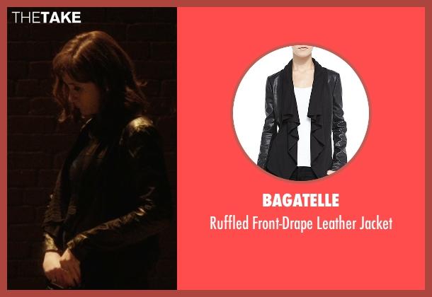rachel 39 s black bagatelle ruffled front drape leather jacket from master of none season 1. Black Bedroom Furniture Sets. Home Design Ideas
