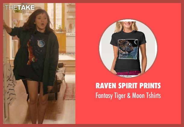 Raven Spirit Prints black tshirts from Master of None seen with Rachel (Noël Wells)