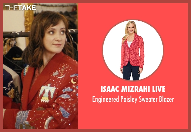 Isaac Mizrahi Live red blazer from Master of None seen with Rachel (Noël Wells)