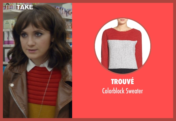 rachel 39 s red trouv colorblock sweater from master of none season 1 episode 1 thetake. Black Bedroom Furniture Sets. Home Design Ideas