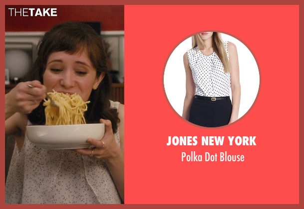 Jones New York white blouse from Master of None seen with Rachel (Noël Wells)