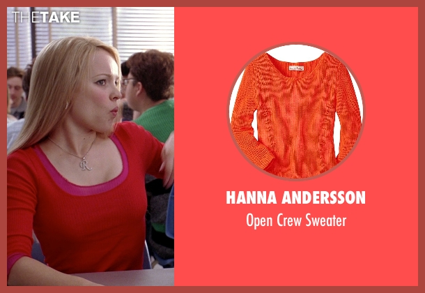 Hanna Andersson orange sweater from Mean Girls seen with Rachel McAdams (Regina George)