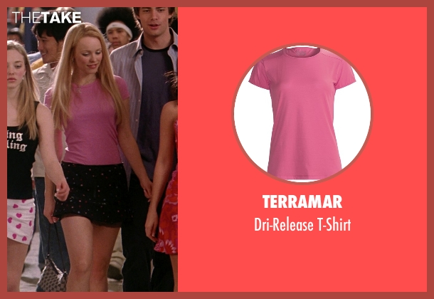 Terramar pink t-shirt from Mean Girls seen with Rachel McAdams (Regina George)