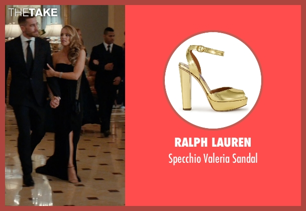 Ralph Lauren gold sandal from Southpaw seen with Rachel McAdams (Maureen Hope)