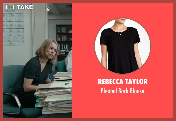 Rebecca Taylor black blouse from Spotlight seen with Rachel McAdams (Sacha Pfeiffer)