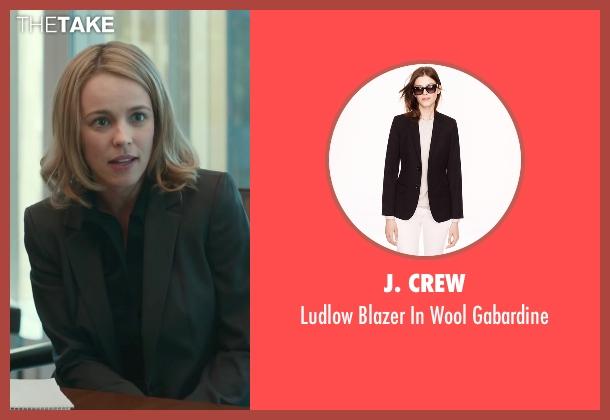 J. Crew black gabardine from Spotlight seen with Rachel McAdams (Sacha Pfeiffer)