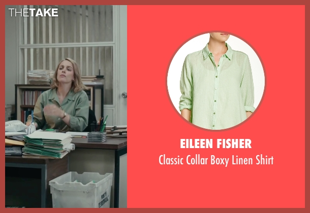 Eileen Fisher green shirt from Spotlight seen with Rachel McAdams (Sacha Pfeiffer)