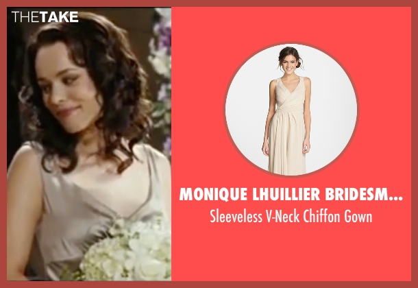 Monique Lhuillier Bridesmaids beige gown from Wedding Crashers seen with Rachel McAdams (Claire Cleary)