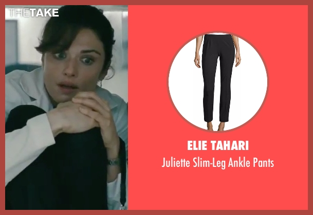 Elie Tahari black pants from The Bourne Legacy seen with Rachel Weisz (Dr. Marta Shearing)