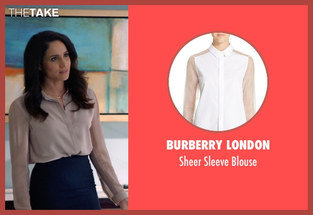 Burberry London beige blouse from Suits seen with Rachel Zane (Meghan Markle)