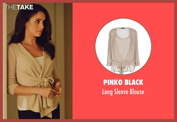 Pinko Black beige blouse from Suits seen with Rachel Zane (Meghan Markle)