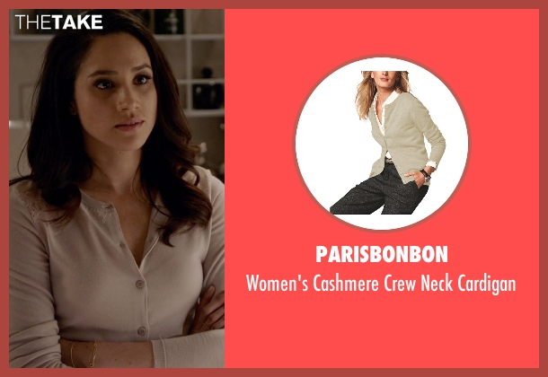 Parisbonbon beige cardigan from Suits seen with Rachel Zane (Meghan Markle)