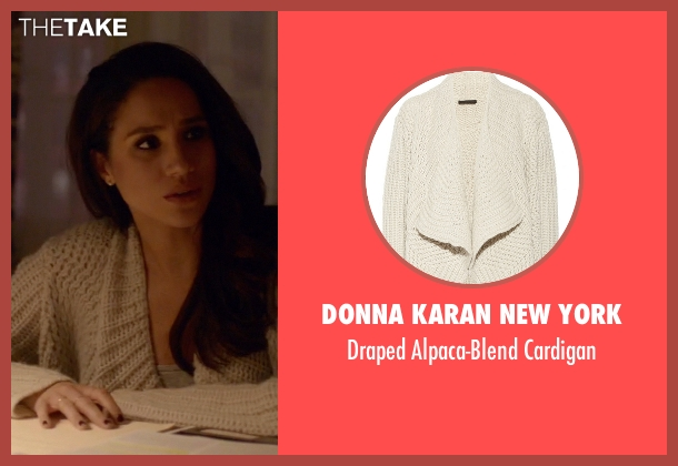 Donna Karan New York beige cardigan from Suits seen with Rachel Zane (Meghan Markle)