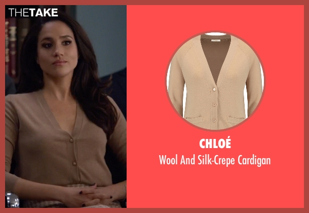 Chloé beige cardigan from Suits seen with Rachel Zane (Meghan Markle)