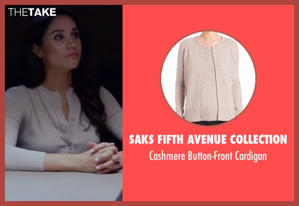 Saks Fifth Avenue Collection beige cardigan from Suits seen with Rachel Zane (Meghan Markle)