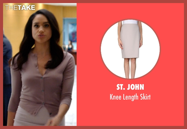 St. John beige skirt from Suits seen with Rachel Zane (Meghan Markle)