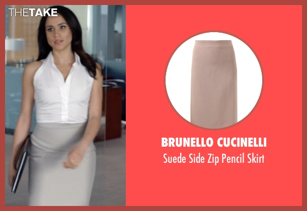 Brunello Cucinelli beige skirt from Suits seen with Rachel Zane (Meghan Markle)