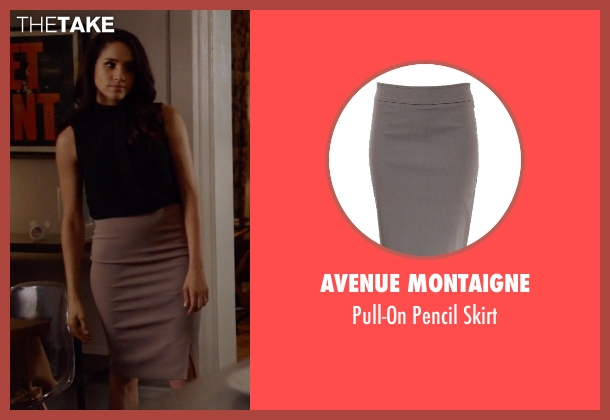 Avenue Montaigne beige skirt from Suits seen with Rachel Zane (Meghan Markle)
