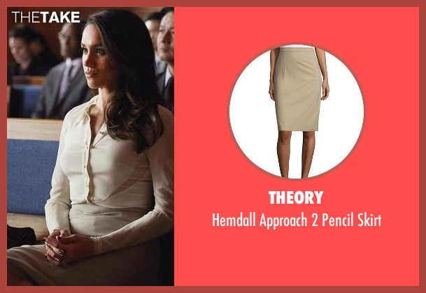 Theory beige skirt from Suits seen with Rachel Zane (Meghan Markle)