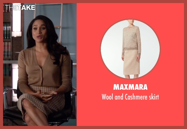 MaxMara beige skirt from Suits seen with Rachel Zane (Meghan Markle)