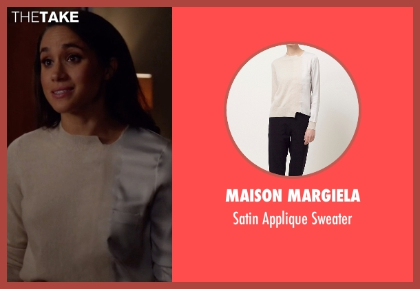 Maison Margiela beige sweater from Suits seen with Rachel Zane (Meghan Markle)