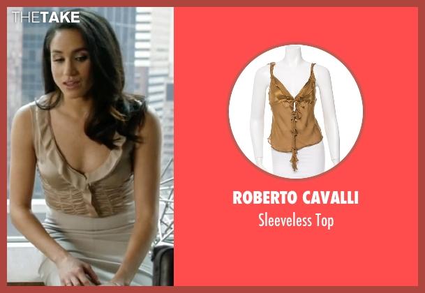Roberto Cavalli beige top from Suits seen with Rachel Zane (Meghan Markle)