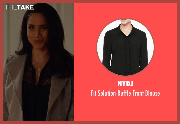 NYDJ black blouse from Suits seen with Rachel Zane (Meghan Markle)