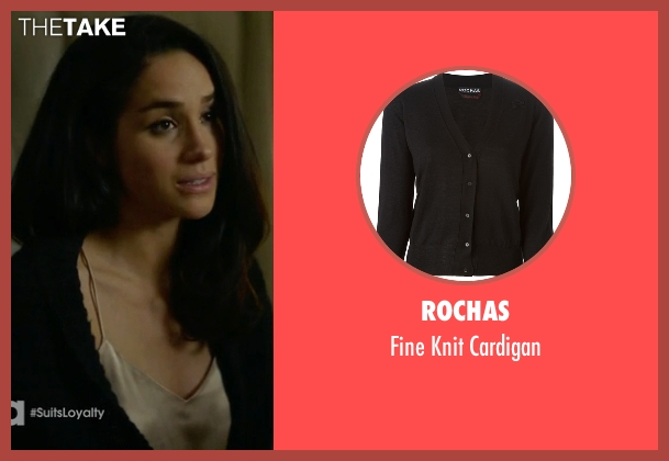 Rochas black cardigan from Suits seen with Rachel Zane (Meghan Markle)