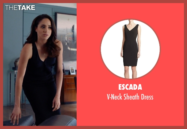 Escada black dress from Suits seen with Rachel Zane (Meghan Markle)