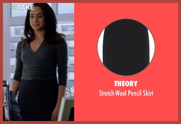 Theory black skirt from Suits seen with Rachel Zane (Meghan Markle)