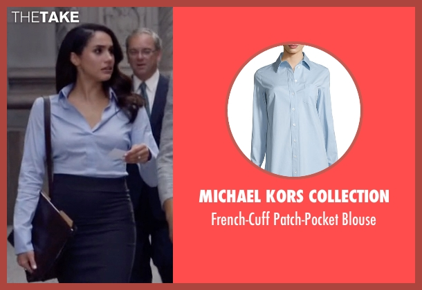 Michael Kors Collection blue blouse from Suits seen with Rachel Zane (Meghan Markle)