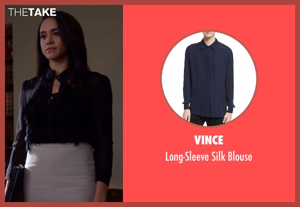 Vince blue blouse from Suits seen with Rachel Zane (Meghan Markle)