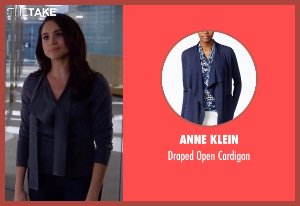 Anne Klein blue cardigan from Suits seen with Rachel Zane (Meghan Markle)