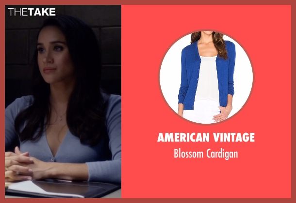 American Vintage blue cardigan from Suits seen with Rachel Zane (Meghan Markle)
