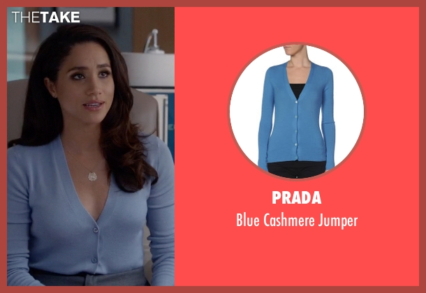 Prada blue jumper from Suits seen with Rachel Zane (Meghan Markle)