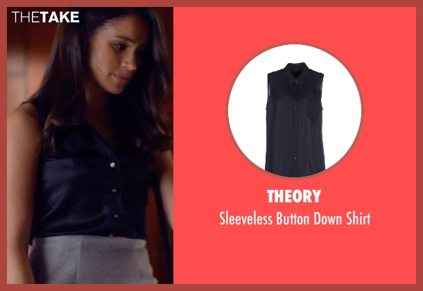 Theory blue shirt from Suits seen with Rachel Zane (Meghan Markle)