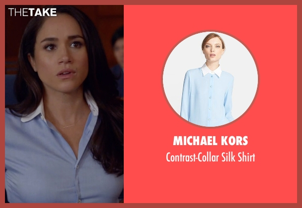 Michael Kors blue shirt from Suits seen with Rachel Zane (Meghan Markle)