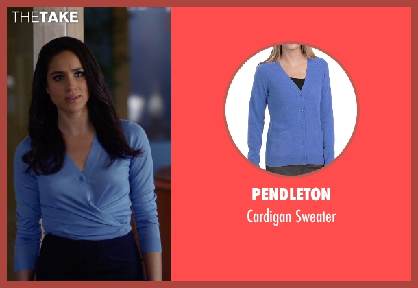 Pendleton blue sweater from Suits seen with Rachel Zane (Meghan Markle)