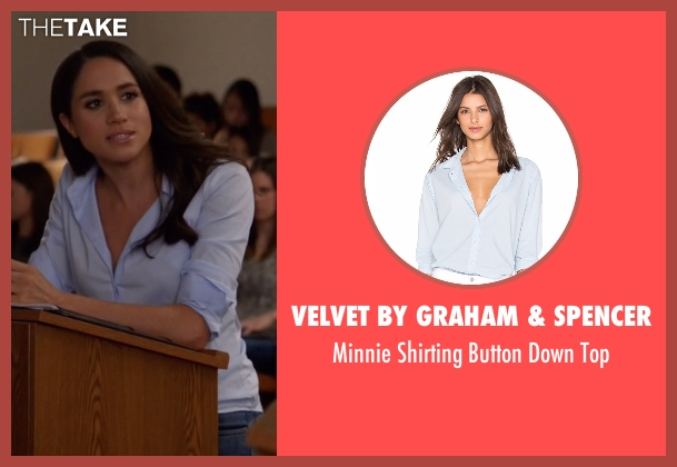 Velvet By Graham & Spencer blue top from Suits seen with Rachel Zane (Meghan Markle)