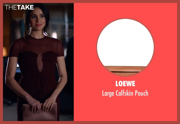 Loewe brown pouch from Suits seen with Rachel Zane (Meghan Markle)