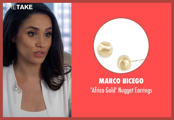 Marco Bicego gold earrings from Suits seen with Rachel Zane (Meghan Markle)