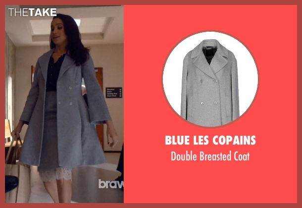 Blue Les Copains gray coat from Suits seen with Rachel Zane (Meghan Markle)