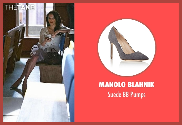 Manolo Blahnik gray pumps from Suits seen with Rachel Zane (Meghan Markle)